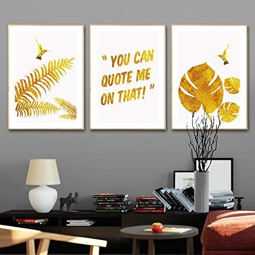LLXXD Nordic Poster Turtle Leaf Golden Leaf Natürliche Landschaft Wandkunst Leinwand Malerei und Drucke Wandbilder für Wohnzimmer Dekor-40x60cmx3 (kein Rahmen)