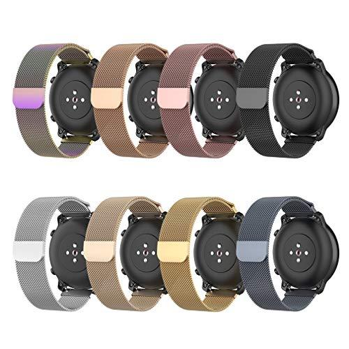 Leoboone Correa de acero inoxidable de metal para Xiaomi Huami Amazfit GTR 47 mm pulsera banda de muñeca para Huami Amazfit Bip BIT Youth Watchband