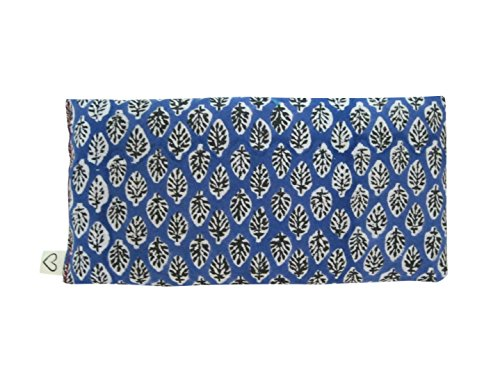 Scented Yoga Eye Pillow - Lavender Flax Seed - 4 x 8.5 - Block Printed - Soft Cotton - Organic Naturally Soothing - leaf blue black white