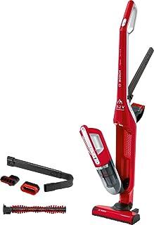 Bosch Flexxo Serie 4 BBH3ZOO25 Aspirador escoba 2 en 1, sin cable y de mano, autonomía de 55 minutos, especial animales con accesorios extra, color rojo