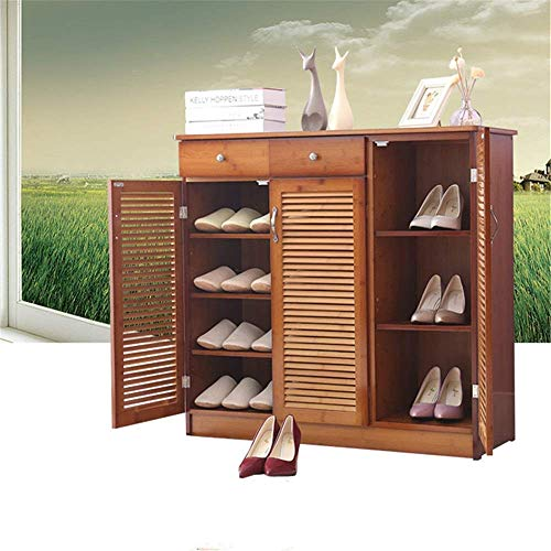 Pkfinrd - Zapatero Organizador de bambú para Zapatos de Varias Capas, Simple y Moderno, Armario de Pasillo, multifunción, para Sala de Estar, Porche, Zapatero, Madera, C
