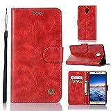 Guran® Funda de Cuero PU para Lenovo P2 Smartphone Función de Soporte con Ranura para Tarjetas Flip Case Retro Patrón Cover - Rojo