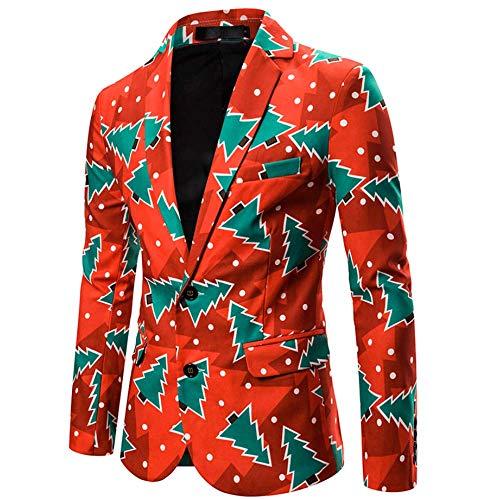 Mannen pak mantel kerst blazer jas mode 3D cartoon kerstprint pak jas voor party slim fit casual mannen, C