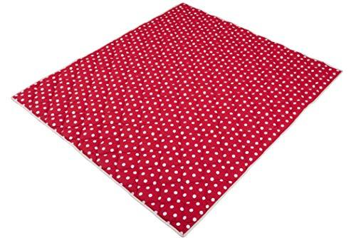 Ideenreich 2143 - Coperta per gattonare a pois, 130 x 150 cm, colore: rosso/bianco