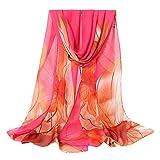 Fashion Women Flower Print Long Soft Wrap Scarf Simulation Silk Shawl Scarves