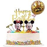FANDE Decoracion para Tartas, 9 piezas Tarta de Mickey de Cumpleaños Globo de Confeti Happy Birthday Topper Estrellas para Fiestas, Bodas, Aniversarios, Niños