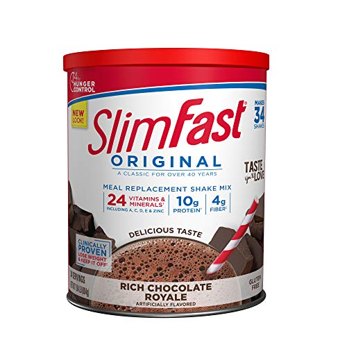 SlimFast Original Rich Chocolate Royale Meal Replacement Shake Mix – Weight Loss Powder – 31.18 Oz Canister – 34 Servings