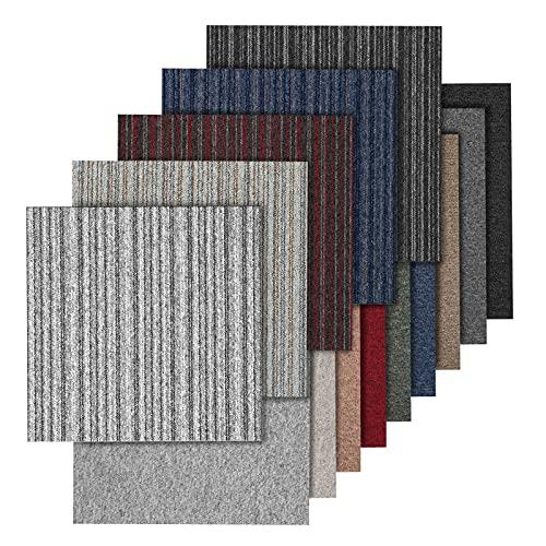 Teppichfliesen Vienna selbstliegend | Rücken: Bitumen, rutschhemmend | Strapazierfähig | Bodenbelag für Büro und Gewerbe | 50x50 cm | Viele Farben (Anthrazit)
