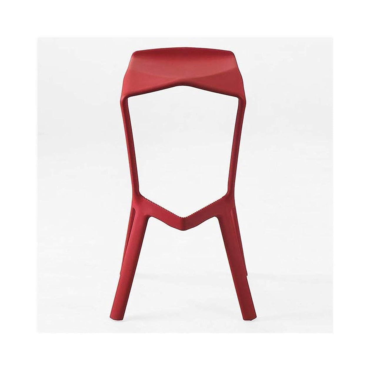 買い手するたらいバーチェアカウンターチェア現代のシンプルなプラスチック製の椅子赤大人クリエイティブファッションラウンジチェアカフェ FENPING (Color : Red wine)
