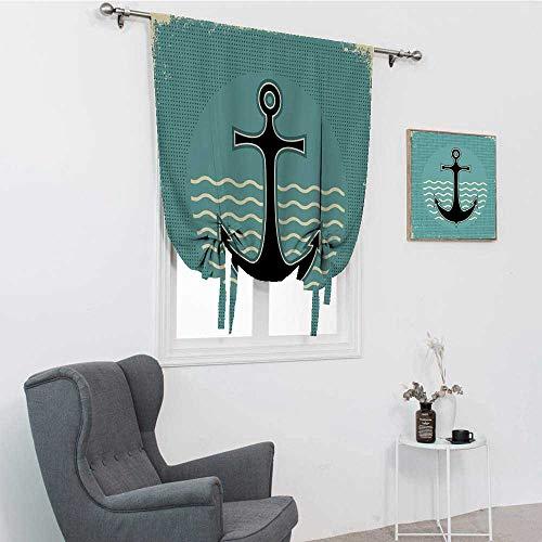 GugeABC Anchor - Cortina opaca, diseño de ancla de estilo vintage con ondas de agua, nostálgica antigua, con letrero de mar para ventana, color verde azulado, negro, amarillo, 76,2 x 162,6 cm