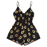 ZAFUL Mono para mujer con cuello en V, tirantes finos y diseño de girasol, cintura elástica Negro S