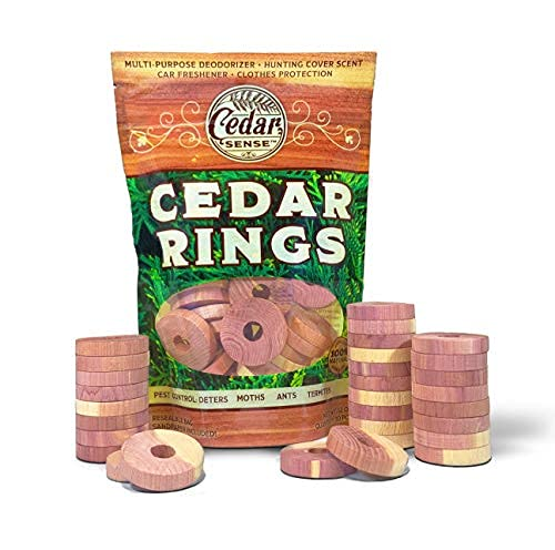 Cedar Sense - Cedar Rings - 30 Pack - Cedar Blocks...