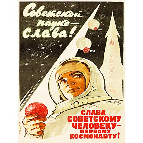 Bumblebeaver Propaganda Political Space Cosmonaut Rocket USSR Gagarin Poster Print Politisch Raum UDSSR