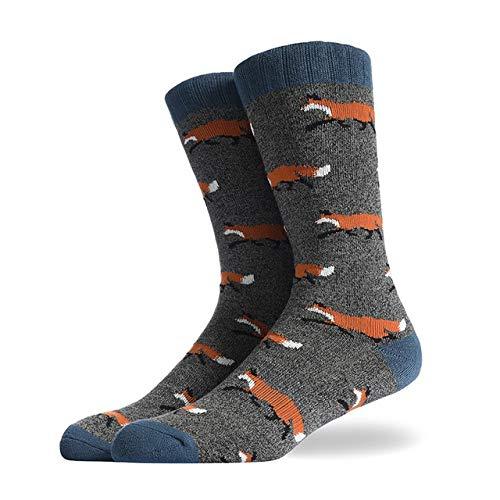 Happy Socks Cartoon Forêt Creative Design Animal Motif Homme Coffret Cadeau peignés Coton Respirant Chaussettes de Coton (Color : B, Size : USA7 12)