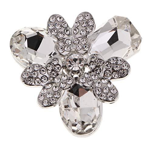 Harilla Botón Decorativo de La Caña del Diamante Artificial de La Aleación de para La Decoración del Vestido del Bolso - Blanco, Individual