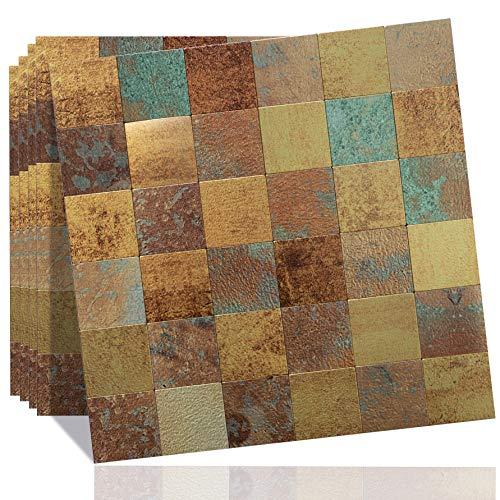 DICOFUN Peel and Stick Metal Backsplash Tiles, Self-Adhesive Aluminum Mosaic Tile, Rust Classical Retro Copper Backsplash for Kitchen & Bathroom, Pack of 5