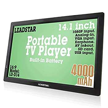 LEADSTAR 14 Inch Portable Digital ATSC TFT HD Screen Freeview LED TV for Car Caravan Camping Outdoor or Kitchen Built-in Battery Television/Monitor with Multimedia Player Support USB Card LEADSTAR