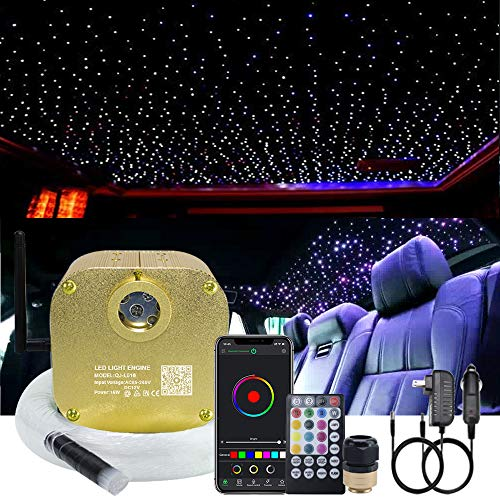 AKEPO 16W RGBW Twinkle Fiber Optic Lights Music + APP Control Star Ceiling Light Kit for Car & Home, RGBW LED Light Engine Driver with Optical Fiber Cable 550pcs 13.1ft/4m 0.75mm + Remote