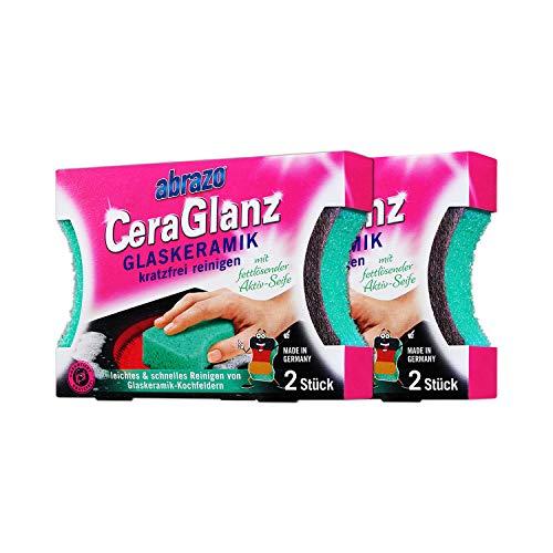 abrazo CeraGlanz Herdreiniger antibakteriell Professioneller Glasreiniger Glaskeramikreiniger Ceran-Kochfeld-Reiniger Kratzfrei 2x2 St