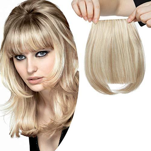 Clip in Pony Haarteil Extensions Fringe Bangs One Piece In Front Hair Verlängerung wie Echthaar Sandy Blonde & Bleichblond-1