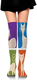 Cartoon Cats Whiskers Emotion Happy Confused Curious Goofy Kitty Women's Fashion Over The Knee High Socks (60cm)