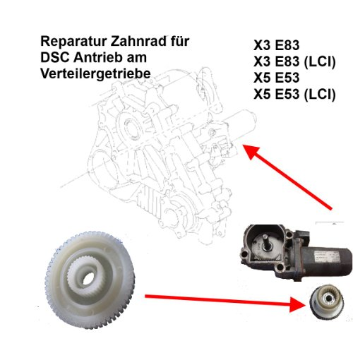 X3 E83 X5 E53 Verteilergetriebe 4x4 Stellmotor Zahnrad zur Reparatur