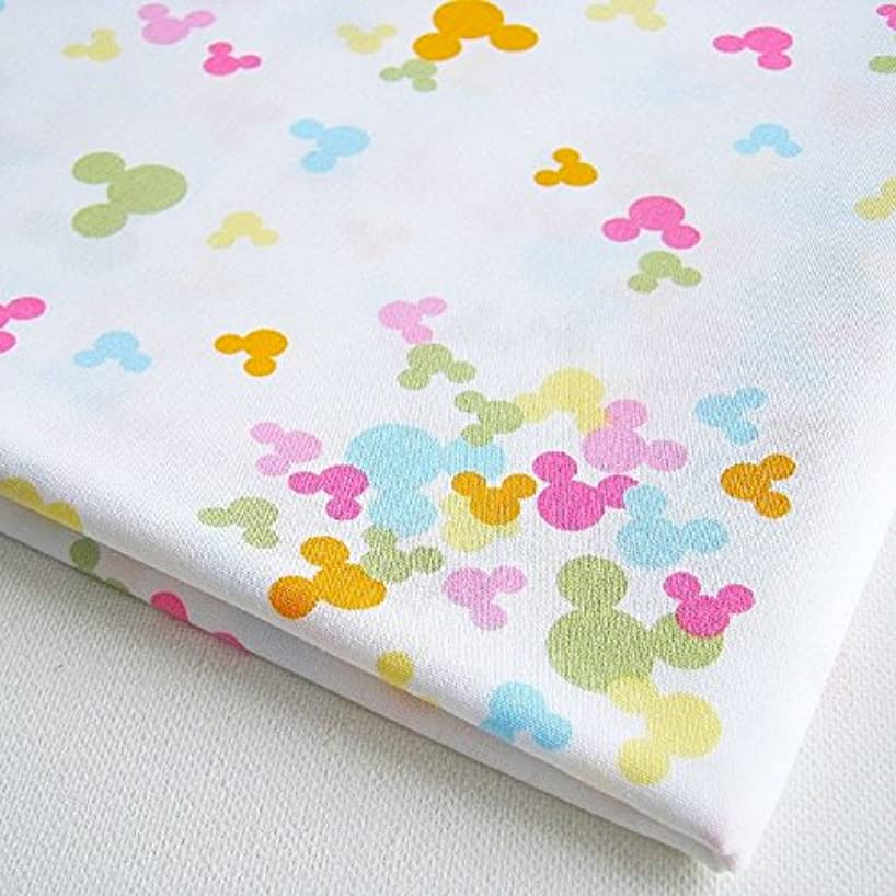Cotton Fabric White with Mickey Minnie Style Colorful Cartoon on White 36 by 36-Inch Wide (1 Yard) (CT199)