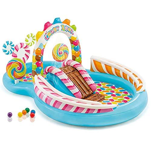 SULUO Kinderplanschbecken, Aufblasbares Schwimmbecken Mit Rutschen Und Wasserstrahlspielzentrum, Geeignet Für Hallenbäder Für Kinder Ab 2 Jahren