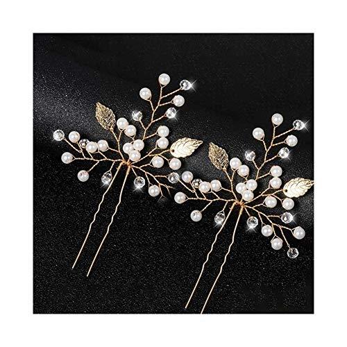 SHOYY Pinzas de Pelo de Pelo de la Boda Casco Nupcial Pernos Mujeres Sale de la Flor de la Boda Accesorios Nupciales del Pelo Scrunchies (Color : HS J4522 Gold)