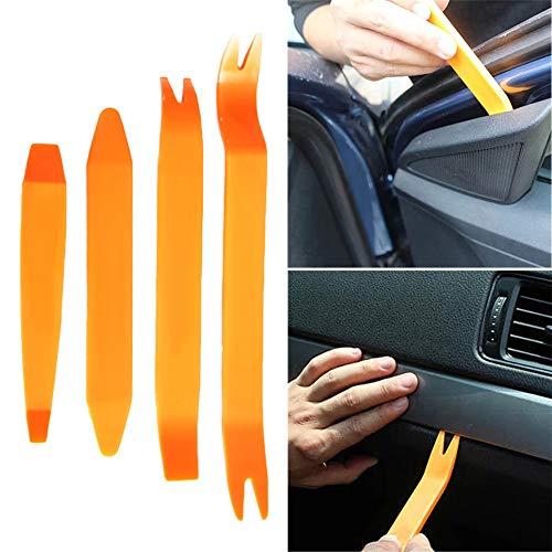 DUBENS Auto Audio Innenverkleidung Loesehebel Demontage Hebelwerkzeug Set Zierleistenkeile Lösewerkzeug Werkzeug Kit für Auto Innen Armaturenbrett Türverkleidung und Platten, Orange (4 TLG.)