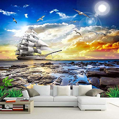 Papel fotográfico personalizado 3D con vista al mar, gaviota, velero, amanecer, paisaje, pintura para sala de estar, sofá, dormitorio, papel pintado, 430 (ancho) x 300 (alto) cm