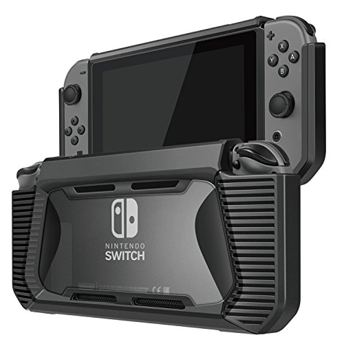 TNP Nintendo Switch Case Cover for Console & Joy-Con Controller - Shock Absorbent TPU Plastic Shell w/ Transparent PC Back Cover, Anti-Scratch Shockproof Joy-Con Detachable Protective Case (Black)