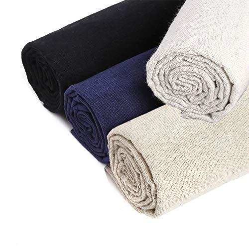 Tela de costura de lino natural 4 pcs de tela de punto de cruz de 4 colores para hacer prendas de vestir, manualidades, bordado de 50,8 cm de lino para bordado para tapicería decoración de macetas