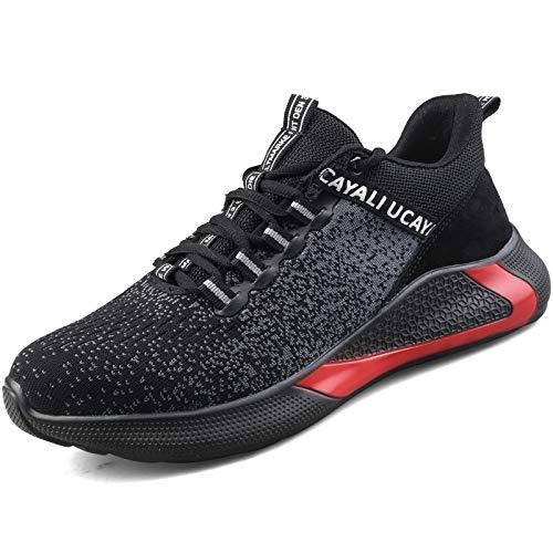 UCAYALI S3 Herren Sicherheitsschuhe Leichte Sport Arbeitsschuhe Stahlkappe Schuhe Männer Anti-Piercing Sneakers Schwarz Gr.46