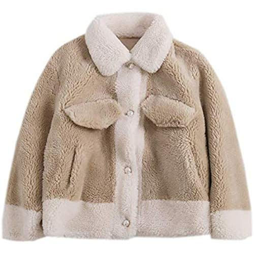 ZHANG Abrigo de terciopelo para mujer de otoño/invierno de gran grano corto perla botón corte oveja, grande