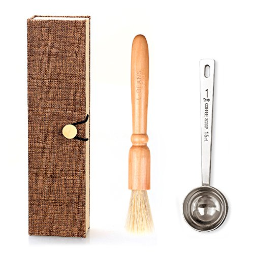 Coffee Grinder Brush and Measuring Scoop with Gift Box, Natural Wood & Bristles & 304 Stainless Steel Spoon Espresso Cleaning Brush Accessories