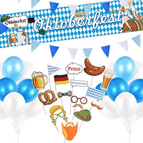 DANXIAN Oktoberfest Party Dekorationen, XXL Oktoberfest Banner 3m Wimpel Girlande 30 Stück Luftballons 17 Stück Fotorequisitten für Oktoberfest Bayrisch Wiesen Party Deko Dekoration