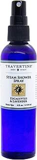 Travertine Spa Steam Shower Spray | Eucalyptus & Lavender | Shower Aromatherapy | Sinus and Congestion Relief | Steam Room Spray | 100% Natural Eucalyptus Oil | 4 oz.