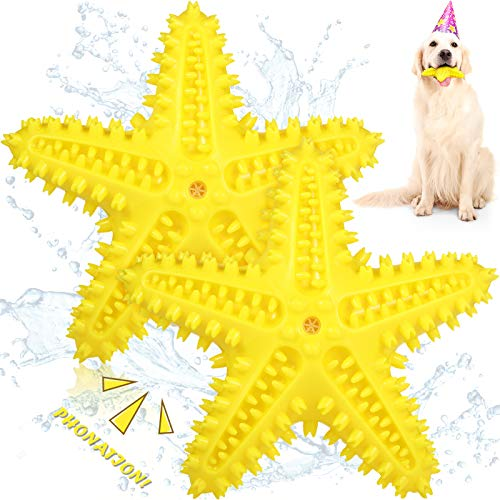 2 Pieces Dog Chew Toy Squeaky Dog Toothbrush Toys Durable Dog Teeth Cleaning Toys Starfish Dog Toothbrush for Small Medium Dogs Puppy (Yellow)