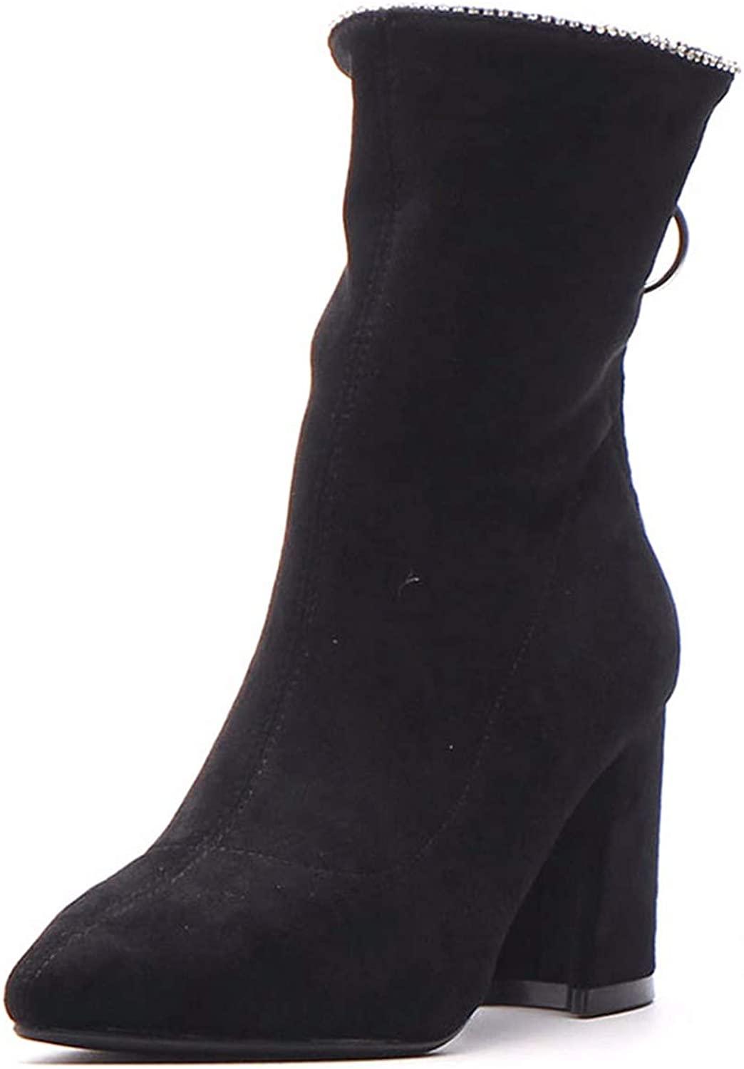 SFSYDDY Popular shoes Martin Boots with High 8Cm Rough Wild Diamond Thin Short Boots.