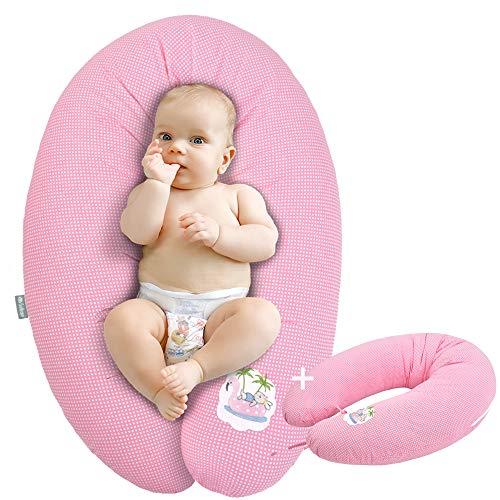 Coussin d'allaitement de qualité, oreiller de grossesse, 170 x 30cm SET + 1x taie | Remplissage: boules de fibres 3-D, testées et certifié Ökotex. Taie avec zip et broderie de haute qualité