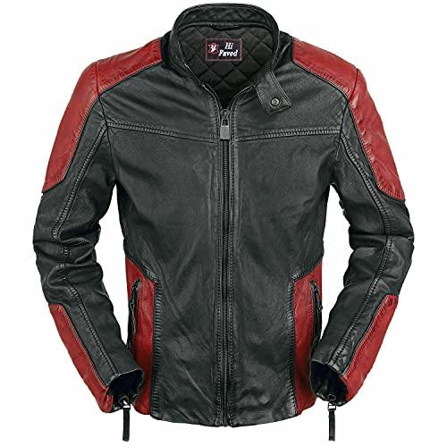 Giacca da motociclista da uomo Modish Cafe Racer rosso e nero in vera pelle, Rosso e nero., L