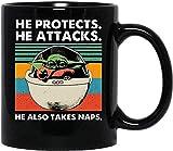 N\A Baby #Yoda He Protec Él ataca Él también Toma Siestas Café Divertido Té Mujeres Hombres Tazas Tazas