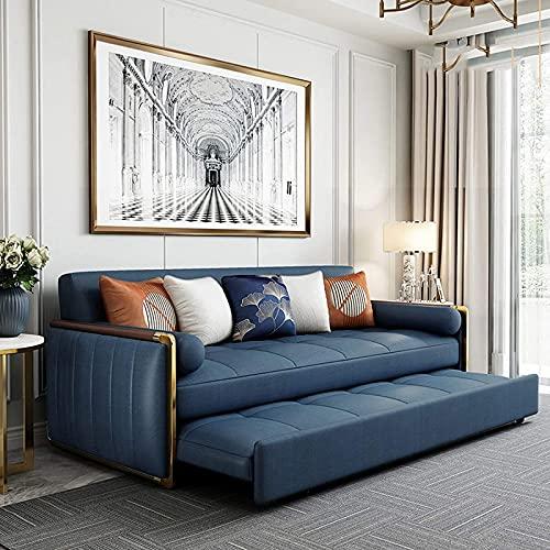 Sofá Cama Plegable Reversible, Sofá Cama Convertible, Sofá Futón Extraíble De Cuero, Sofá Cama Plegable Multifunción para Sala De Estar Y Apartamento, Resistente,Azul,80CM
