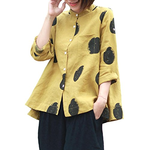 Blusas Mujer, ASHOP Casual Talla Extra Bolsillo Sudaderas Ropa en Oferta Camisetas Manga Larga Tops de Fiesta Abrigos Invierno de Mujer otoño (XXXXXL, Amarillo)