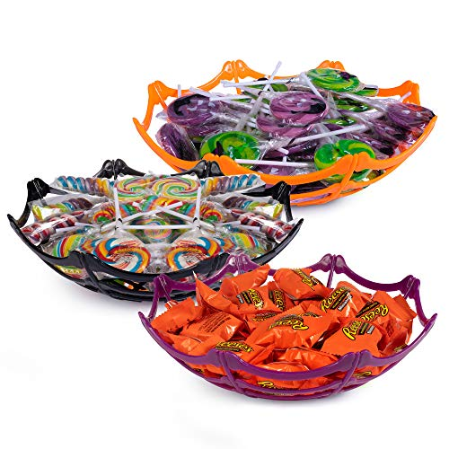 Large Halloween Spider Web and Skulls Basket Bowls for Halloween Party Supplies, Halloween Decorations, Trick or Treat Candy For Office, Home, or Classroom - Set of 3
