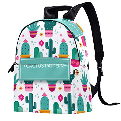 TIZORAX Cactus Plants with Floral Leather Backpacks Casual Daypacks Travel Bags School Bag for Men Women Girls Boys