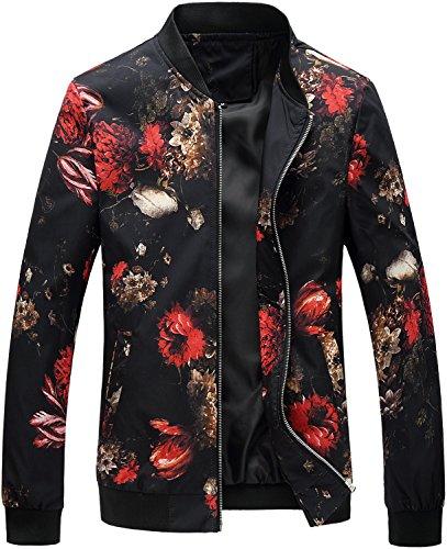 HENGAO Men's Casual Zipper Front Flowers Print Lightweight Bomber Jacket, JK776 Black, X-Large = Tag 6XL