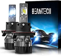 BEAMTECH H13 LED Bulbs,6500K Extremely Super Bright 9008 30mm Heatsink Base CSP Chips Conversion Kit,Xenon White Small Size Halogen Replacement
