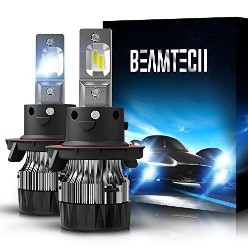 BEAMTECH H13 LED Headlight Bulbs,6500K 10000 Lumens Extremely Super Bright 9008 Hi/Lo 30mm Heatsink Base CSP Chips Conversion Kit,Xenon White
